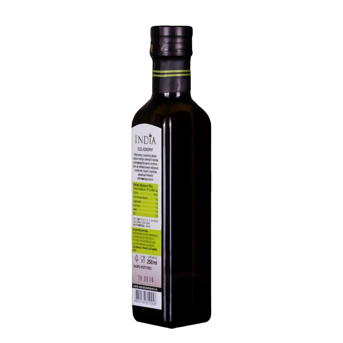 India Naturalny olej konopny tłoczony na zimno 250 ml