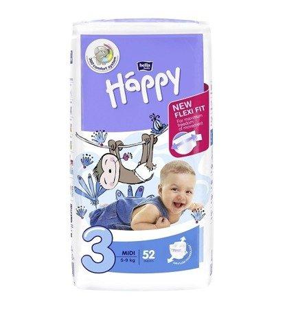 Pieluszki dla dzieci Happy Midi 52 SZT
