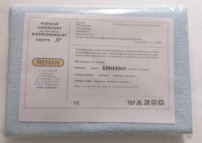 Podkład do ochrony materaca, Frott/PCV 140x110cm