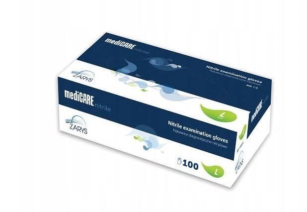 Rękawiczki nitrylowe bezpudrowe Medicare 100 sztuk