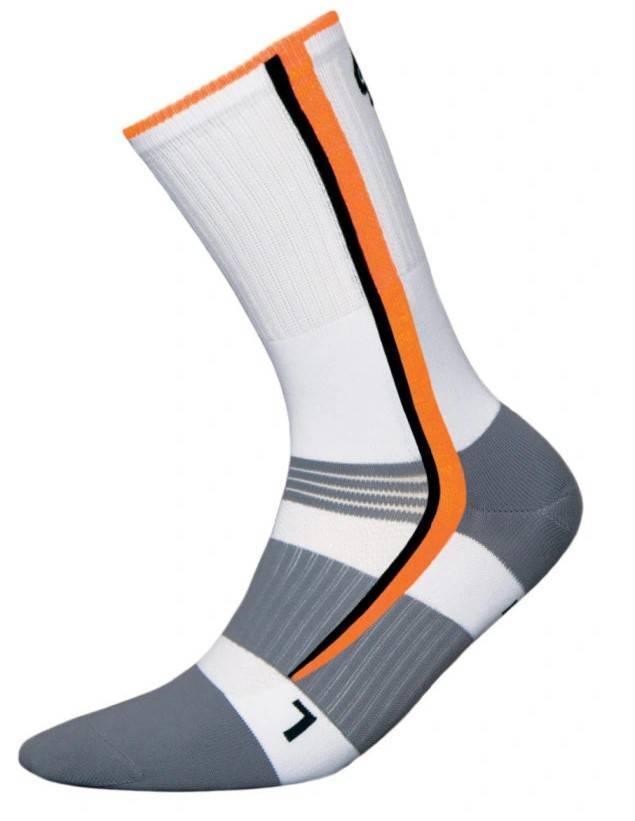 Skarpetki Bike Silver biały+pomarańczowy fluorescencyjny