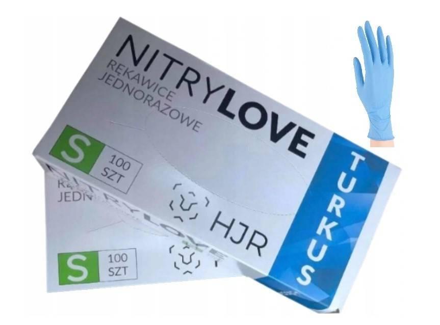 Rękawiczki nitrylowe bezpudrowe turkus rozmiar S 100 szt